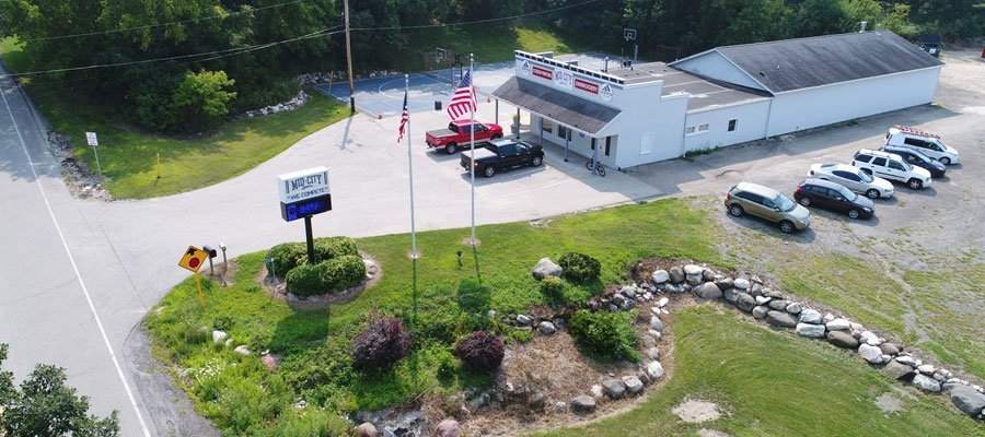 Mid-City Sports aerial shot. Mid-City Sports specializes in custom sportswear and corporate apparel.